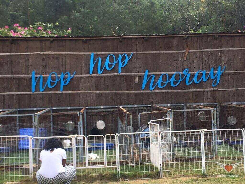 Sign on the Rabbit precinct at Flow Organic Farm and Animal Sanctuary