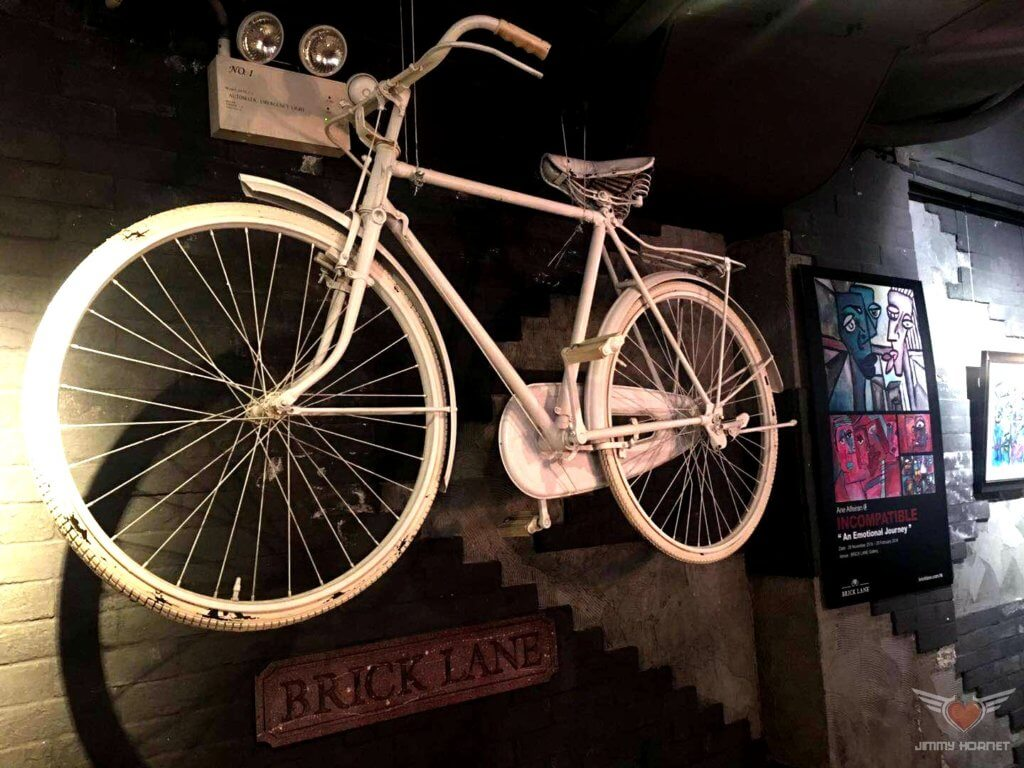 Ghosts bicycle adorns the wall at Brick Lane Gallery