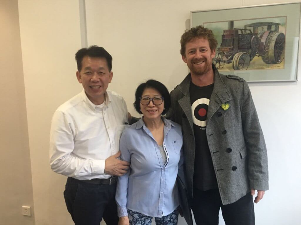 Hugh McGinlay pictured with Wendy and John Ngai, China