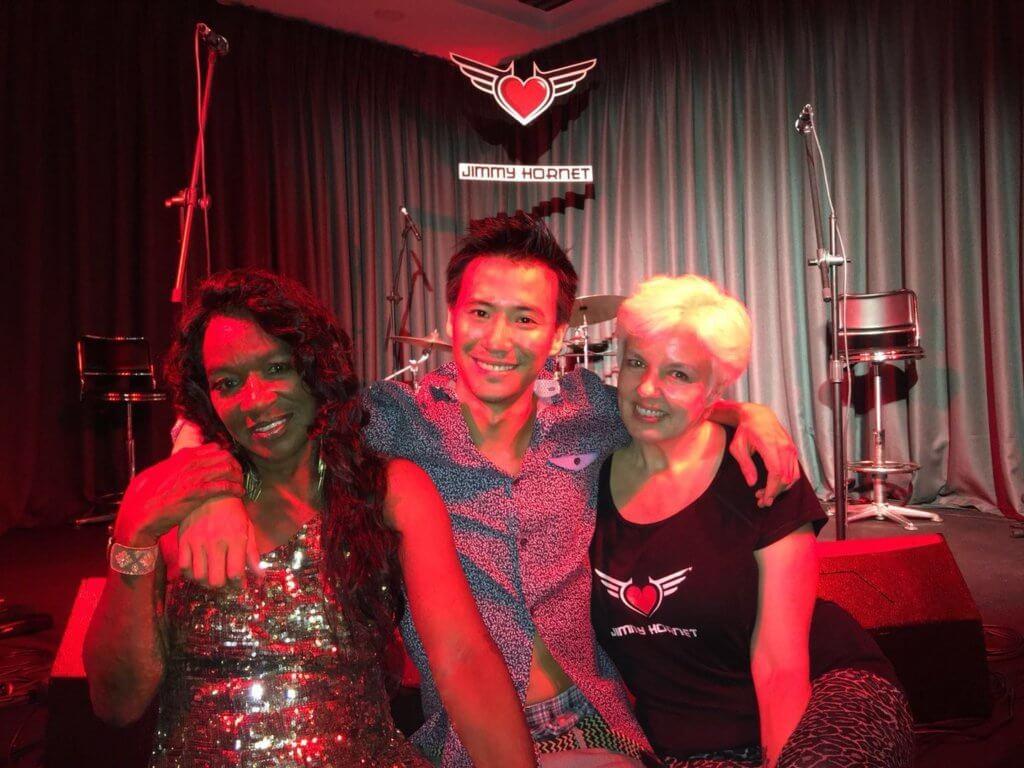 Sybil Thomas, Geoff King Luk, Anthea Palmer at Jimmy Hornet China