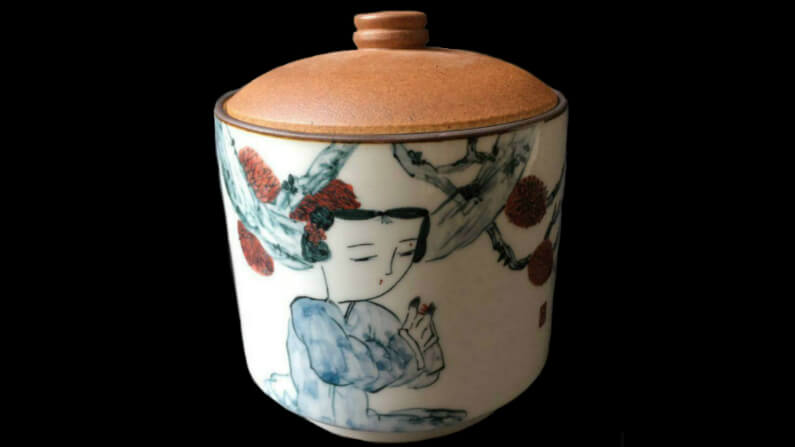 Hand Painted Ceramic Storage Canister