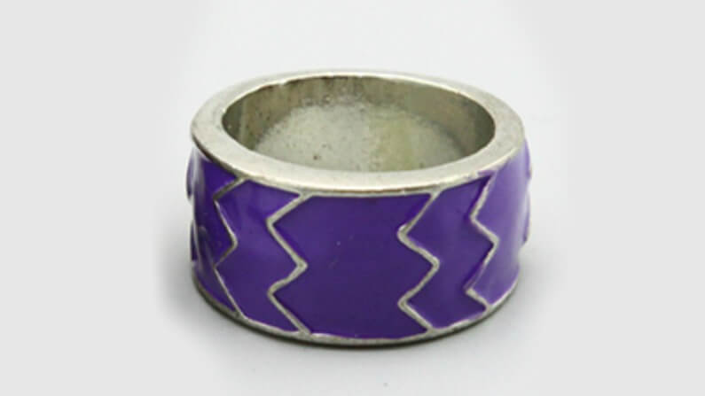 Silver Ring with Purple Aztec Design