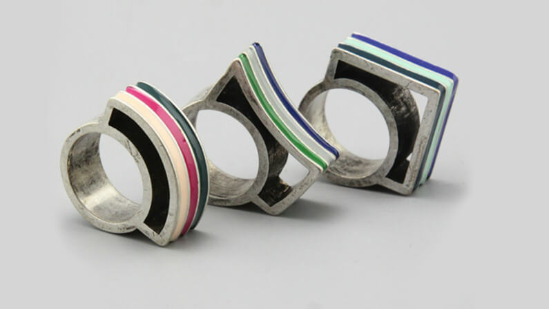 Striped angular enameled ring
